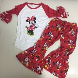 Minnie Mouse ruffle long sleeve top pants outfit